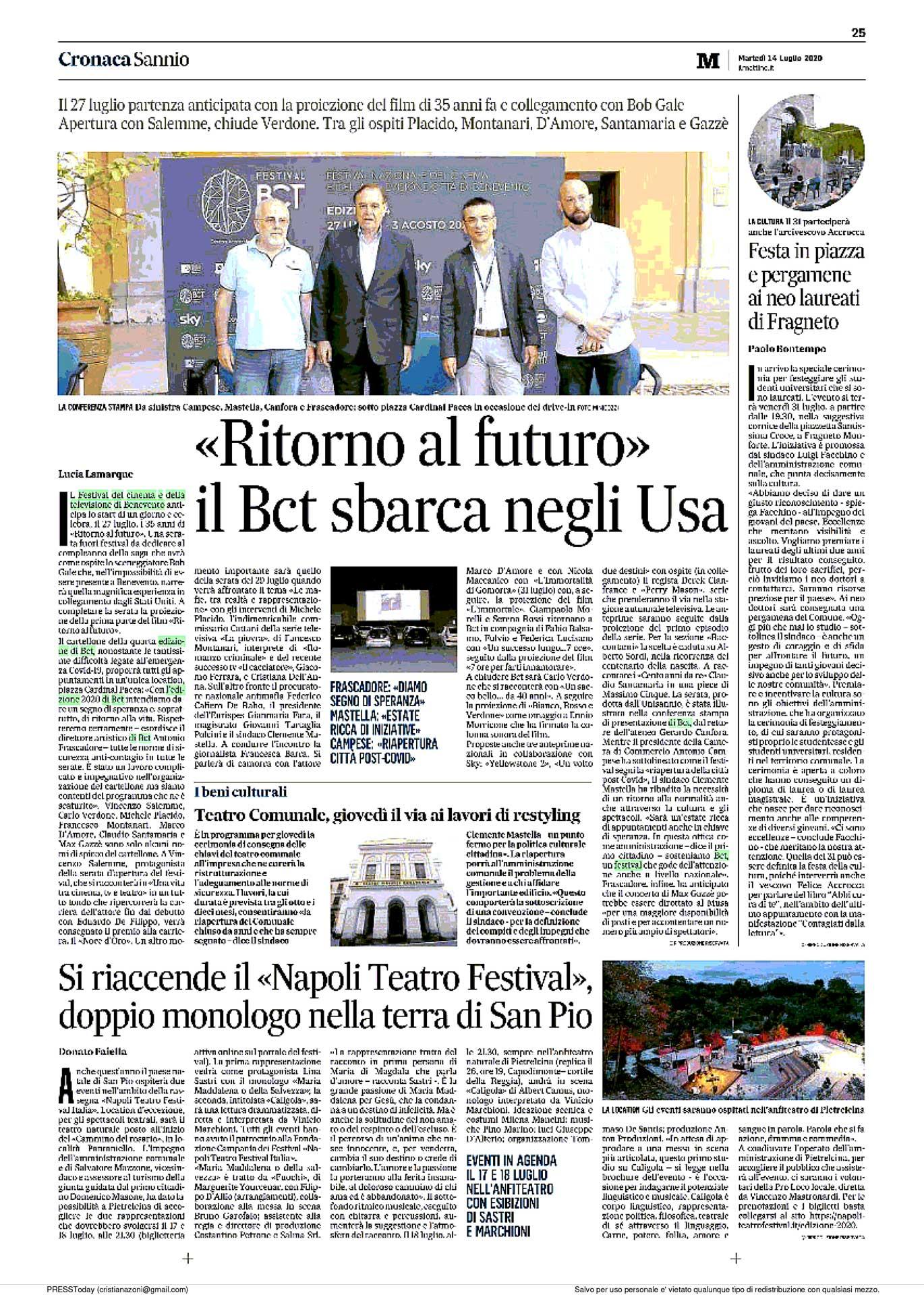 Rassegna Stampa BCT Festival 2020